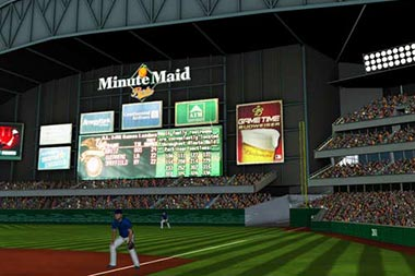 Screen capture of baseball field from sport simulator